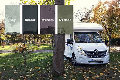 """Auf dem Campingplatz in Durlach soll das Projekt """"tiny timber tourism"""" nächstes Jahr umgesetzt werden. Foto: cg/Grafik: pm"""