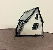 """Katja Wittemann, """"Zustand nach Seitenwind"""", Kreide, Packpapier, 13x13 cm. Foto: zettzwo"""