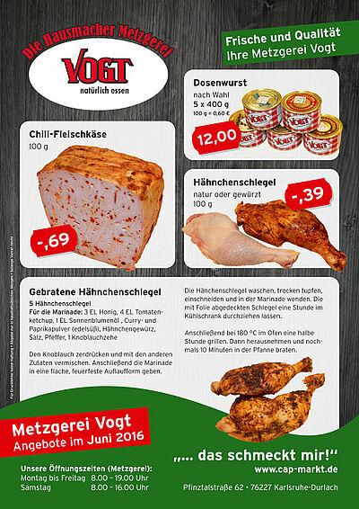 Metzgerei Vogt: Angebote im Juni 2016