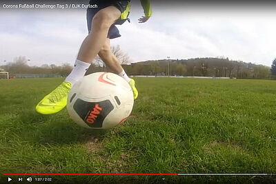 DJK Durlach auf YouTube: Täglich neue Fußball-Übungen für zu Hause. Grafik: pm