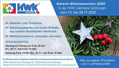 Adventwochen der HWK Gärtnerei. Grafik: pm