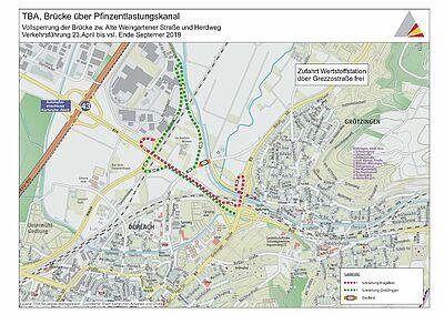 Sperrung der Alten Weingartener Straße bis Ende 2019. Grafik: TBA