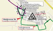 Vollsperrung der L 623 in Palmbach. Grafik: KVV