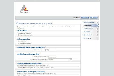 Die Zulassungsstelle der Stadt Karlsruhe erweitert ihr Serviceangebot. Ab sofort können Anträge auf Zulassung jederzeit online gestellt werden. Screenshot/Grafik: pm