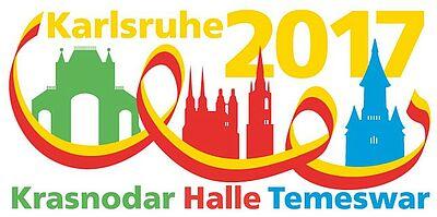 Gleich drei Partnerschaftsjubiläen können 2017 gefeiert werden. Grafik: Stadt Karlsruhe