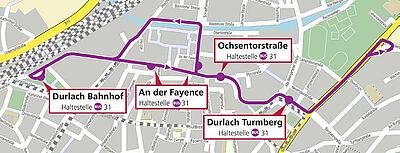 Die Route der SEV-Busse während des Fastnachtsumzuges in Durlach. Karte: OpenStreetMap - Mitwirkende