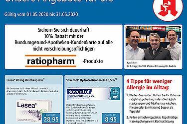 Rundum gesund Apotheken: Aktionen und Angebote im Mai 2020. Grafik: pm
