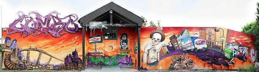 """Fassade des Hip Hop Kulturzentrums """"Combo"""". Foto: Farbschall e.V."""