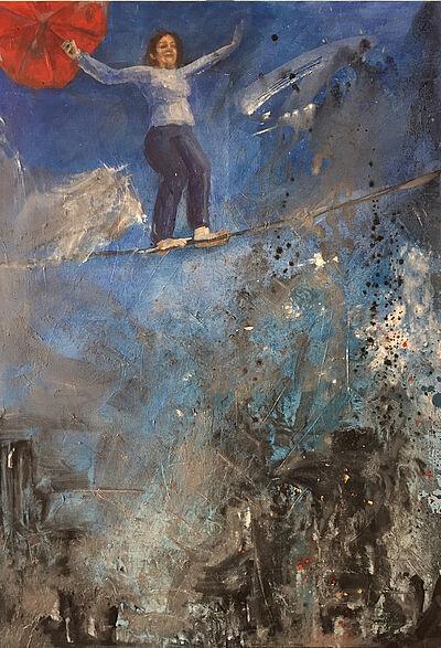 "zettzwo. Karin Münch, ""Ganz oben"", Acryl auf Leinwand, 70 x 100 cm, 2019. Foto: zettzwo"
