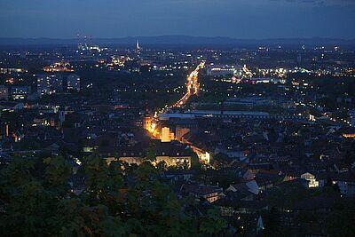 Turmbergblick bei Nacht. Foto: cg