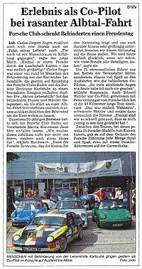 Porsche Club: Ausfahrt für Menschen mit Behinderung.