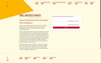 Screenshot Onlinerechner Karlsruher Pass/Kinderpass. Grafik: pm/Bearbeitung: om
