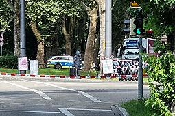 Kofferfund in Durlach: weiträumige Absperrung. Foto: cg