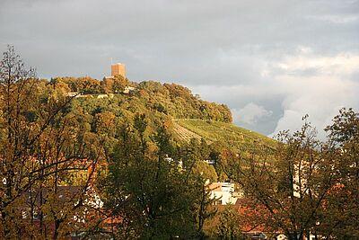 Durlacher Turmberg im Herbst – 2013 noch ohne neue Turmbergterrasse. Foto: cg
