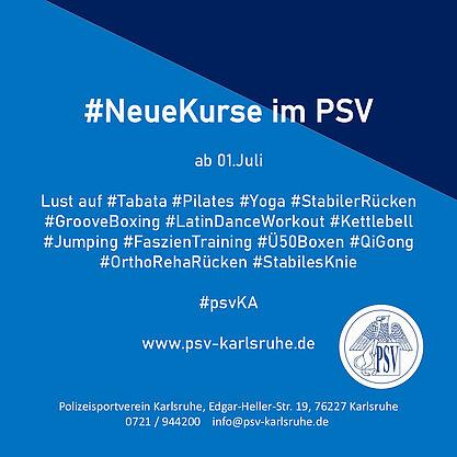 #NeueKurse im PSV. Grafik: pm