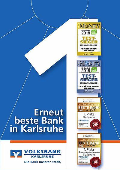 Volksbank Karlsruhe: Erneut beste Bank in Karlsruhe. Grafik: pm