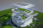 Das 3D-Modell bildet den neuen BBBank Wildpark bis ins Detail ab. Grafik: Eigenbetrieb Fußballstadion im Wildpark/BAM Sports