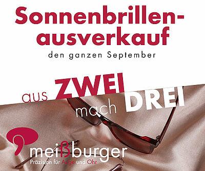 Aus zwei mach' drei: Sonnenbrillen-Aktion im September bei Meißburger. Grafik: pm