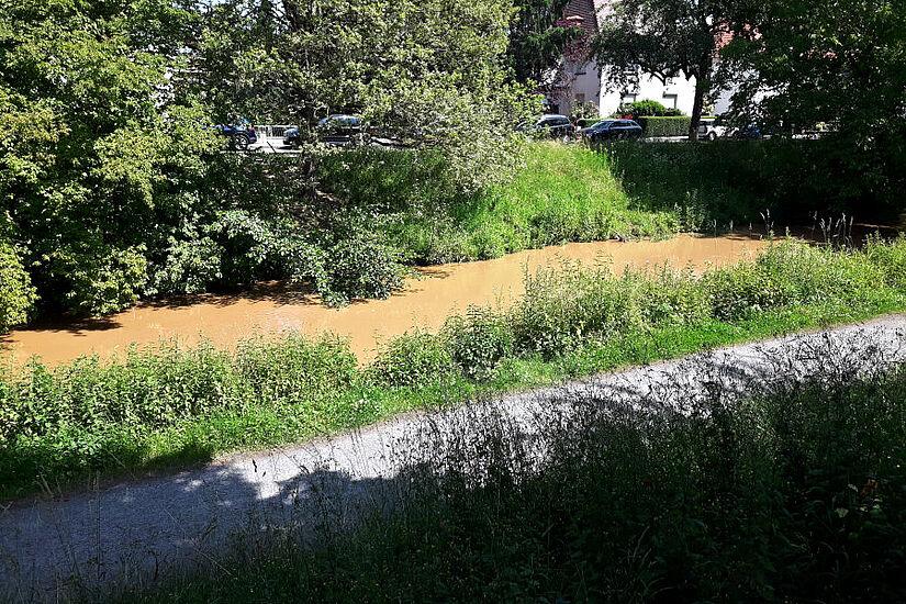 Die Pfinz in Durlach ein Tag nach dem Unwetter: Große Mengen Erdreich wurden in den Fluss gespült. Foto: cg