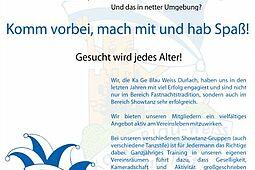 Die KaGe Blau-Weiss Durlach 1951 e.V. sucht Dich. Grafik: pm