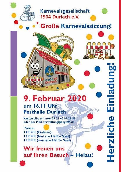 Große Karnevalssitzung 2020 der KaGe 04 Durlach. Grafik: pm