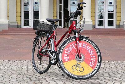 Werbung per Fahrrad-Display für die gute Sache. Foto: pm
