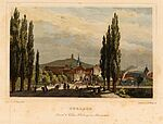 Durlach, Ansicht von Westen mit Eisenbahn, 1844