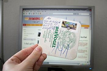 Bierdeckel-Postkarte