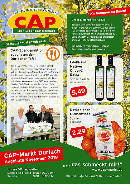 CAP-Markt Durlach: Angebote im November 2019. Grafik: pm