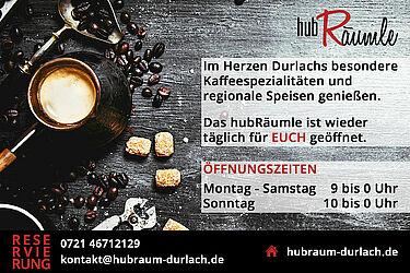hubRäumle Durlach: Täglich geöffnet. Grafik: pm