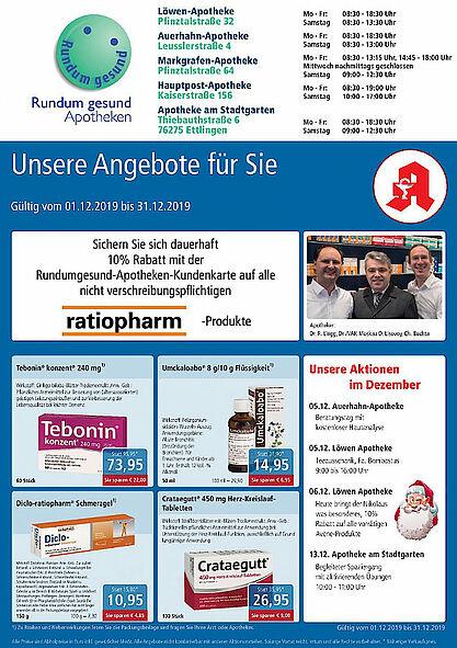 Rundum gesund Apotheken: Aktionen und Angebote im Dezember 2019. Grafik: pm