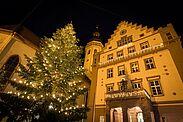 Christbaum auf dem Durlacher Marktplatz. Foto: cg