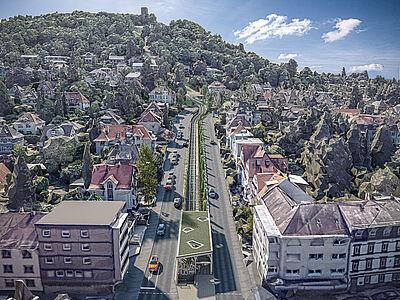 Die Turmbergbahn wird modernisiert und bis zur B3 verlängert. Die VBK präsentierte zusammen mit Architekturbüro Forum 4 mit neuen Visualisierungen den aktuellen Planungsstand. Grafik: Garaventa/Forum 4