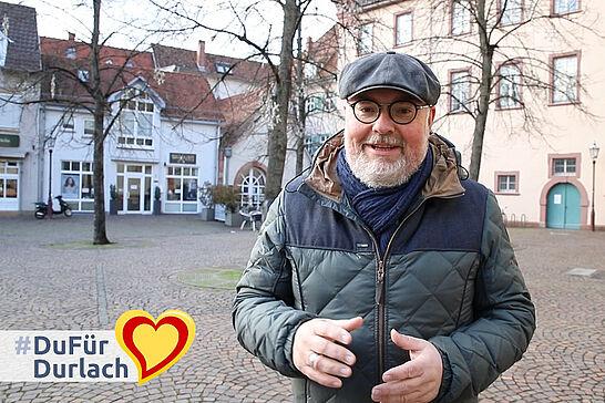 17 Interview mit Martin Wacker über den Standort Durlach - Martin Wacker wohnt in Durlach. Er ist Geschäftsführer der KME Karlsruhe Marketing und Event GmbH, Stadionsprecher des KSC und vielseitiger Kulturschaffender.. (1 Video)