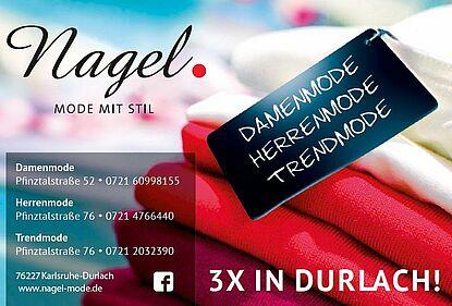 Das Modehaus Nagel präsentiert Damen- und Herrenmode – 3x in Durlach – auf insgesamt 630qm.
