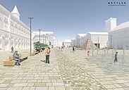Marktplatz Karlsruhe erhält bis Ende 2020 ein neues Gesicht. Visualisierung: Mettler Landschaftsarchitektur