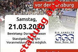 Absage: Kruschtlmarkt vor der Karlsburg. Grafik: pm/Bearbeitung: om