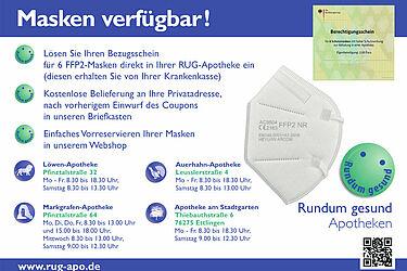 Rundum gesund Apotheken: Masken verfügbar! Grafik: pm