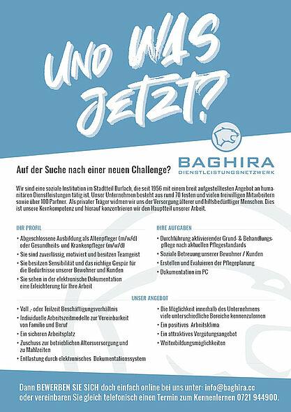 Baghira Dienstleistungsnetzwerk sucht Pflegefachkräfte in Karlsruhe. Grafik: pm