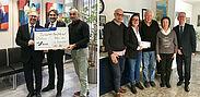Spendenübergabe bei der BBBank Durlach (Bild links) mit Filialdirektor Rainer Wolf (Mitte) sowie bei Fliesen Bürklin (Bild rechts) mit Manfred Bürklin (Mitte) und Roswitha Bürklin (2.v.r.). Fotos: pm
