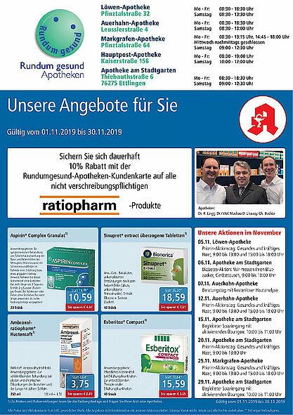 Rundum gesund Apotheken: Aktionen und Angebote im November 2019. Grafik: pm