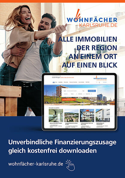 Alle Immobilien der Region an einem Ort – Der Wohnfächer Karlsruhe. Grafik: pm