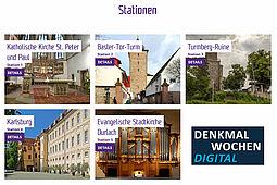 Karlsruher Denkmalwochen 2020: Auch Durlach ist mit einigen Stationen dabei. Als Route 2 lassen sich diese zu Fuß auf einer Strecke von rund vier Kilometern entdecken. Grafik: ktg/cg