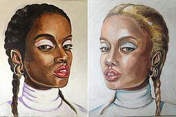 """Vera Holzwarth, Zwillingsportrait """"White Shadows"""", Acryl auf Leinwand, je 86 x 78 cm, 2020. Foto: zettzwo"""