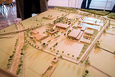 Modell des geplanten Sport- und Freizeitparks Untere Hub. Foto: cg