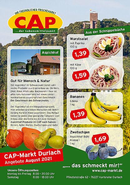 CAP-Markt Durlach: Angebote im August 2021. Grafik: pm