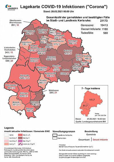 Am Donnerstag lag die 7-Tage-Inzidenz für das Karlsruher Stadtgebiet mit 81,7 zum vierten Mal in Folge unter 100. Grafik: Landratsamt Karlsruhe