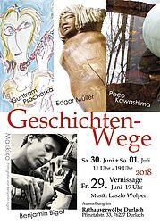 """Ausstellung """"Geschichten-Wege"""" im Rathausgewölbe. Grafik: pm"""