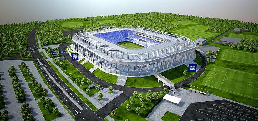 Auf der Website steht eine Basis-Version des 3D-Modelles zur Verfügung. Grafik: Eigenbetrieb Fußballstadion im Wildpark/BAM Sports