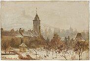 Karl Weysser: Durlach. Basler Torturm mit Turmberg im Schnee, 1878 (Städtische Galerie Karlsruhe). Foto: Heinz Pelz, Karlsruhe